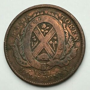 DATED : 1837   COPPER COIN   HALF PENNY TOKEN   CANADA PROVINCE DU BAS