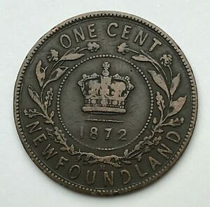 DATED : 1872   CANADA   NEWFOUNDLAND   ONE CENT COIN   QUEEN VICTORIA