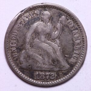 1872 SEATED LIBERTY HALF DIME     J3KP