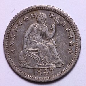 NICE MEATY 1847 SEATED LIBERTY HALF DIME     K10GNN