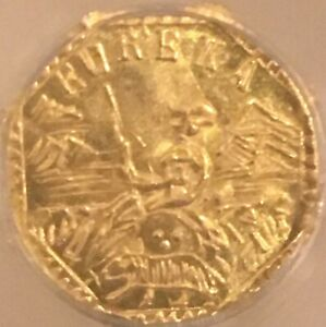 1853 DATED OCTAG CAL GOLD TOKEN   ARMS OF CALIFORNIA  0.16GM 9.4MM    NGC MS66