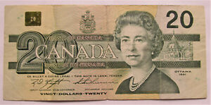 1 1991 20 DOLLAR BANK OF CANADA BANKNOTE AWK7936323 F  TO VF   COMBINED SHIP