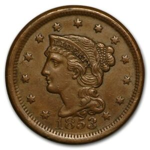 LARGE PENNY BRAIDED HAIR 1853 WOW   HOT HOT HOT