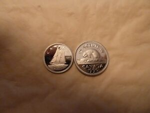 GREAT   1990   FROSTED PROOF   10 CENT AND 5 CENT  2 X COINS