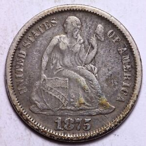 1875 SEATED LIBERTY DIME       R2RCH
