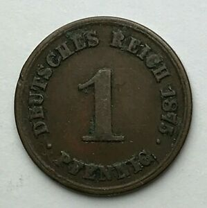 DATED : 1875 A   GERMANY   1 PFENNIG   GERMAN COIN   ONE PFENNIG