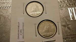 LOT OF  2  1965 10C SILVER PROOF CANADIAN DIMES 72398