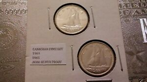1964 1965 10C SILVER PROOF CANADIAN DIME LOT 57600