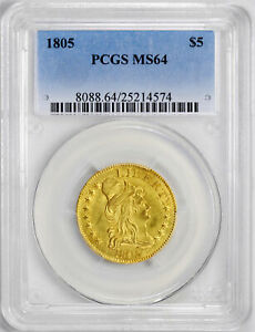 Click now to see the BUY IT NOW Price! 1805 DRAPED BUST $5 PCGS MS 64