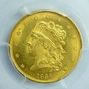 1834 $5 PLAIN 4 CLASSIC HEAD PCGS MS65 POP 4 WITH ONLY 3 HIGHER  LAST SALE $99K