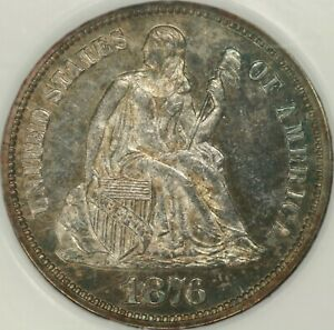 1876 PROOF SEATED DIME NGC PR63 CAC