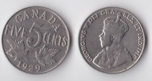 1929 CANADA 5 CENTS COIN
