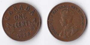 1928 CANADA 1 CENT COIN