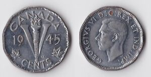1945 CANADA 5 CENTS COIN