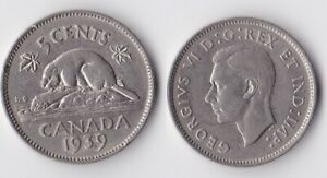 1939 CANADA 5 CENTS COIN