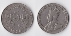 1928 CANADA 5 CENTS COIN