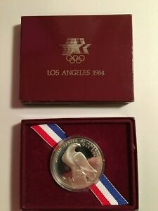 1984 S OLYMPIC COLISEUM PROOF SILVER DOLLAR COIN LOS ANGELES OLYMPIAD WITH BOX