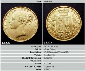 1851 GEF QUEEN VICTORIA GOLD SOVEREIGN CGS 65 MS60 MS61
