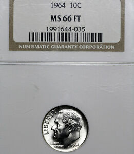 1964 P MS66 FT ROOSEVELT DIME 10C NGC GRADED FB FULL TORCH / BANDS