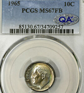 1965 P MS67 FB QA ROOSEVELT DIME 10C PCGS GRADED FT FULL BANDS / TORCH TONED