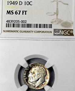 1949 D MS67 FT ROOSEVELT DIME 10C NGC GRADED FB FULL TORCH / BANDS