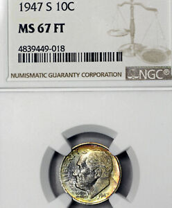 1947 S MS67 FT ROOSEVELT DIME 10C NGC GRADED FB FULL TORCH / BANDS NICE TONED