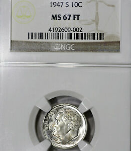 1947 S MS67 FT FB ROOSEVELT DIME 10C NGC GRADED FULL TORCH / BANDS