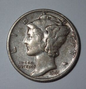 1941 MERCURY DIME PHILADELPHIA MINT US 10 CENTS SILVER COIN WINGED LIBERTY TONED