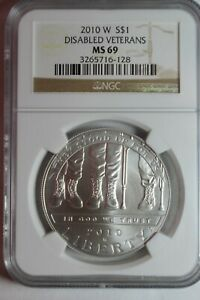 2010 W DISABLED VETERANS SILVER DOLLAR MS69 NGC 128