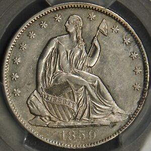 1859 O SEATED LIBERTY HALF DOLLAR PCGS AU DETAILS CLEANING 50C