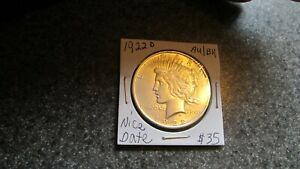 1922'D PEACE SILVER DOLLAR IN BRIGHT AU TO  BU CONDITION COMBINED SHIPPING NICE