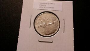 1964 25C SILVER PROOF CANADIAN QUARTER 7041 SPOTTY TONING