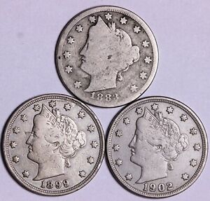 1883 WITH CENTS & 1899 & 1902 LIBERTY V NICKEL   3 COINS          K6ARP
