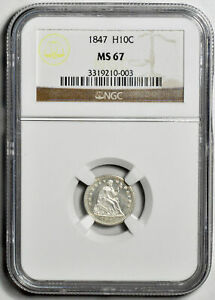 1847 LIBERTY SEATED H10C NGC MS 67