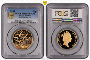 Click now to see the BUY IT NOW Price! 1994 UK 50P D DAY LANDING GOLD PROOF COIN PCGS PR69DCAM