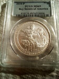1  2010   P BOY SCOUTS OF AMERICA SILVER DOLLAR PCGS MS 69