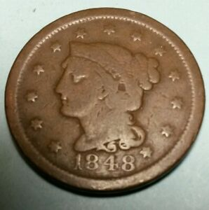 1848 N 6 LARGE CENT 1 LATE DIE STATE WITH CRACK AND CUD ON REVERSE.