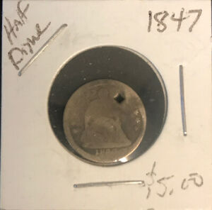1847 SEATED HALF DIME G  HOLED   DB1:1
