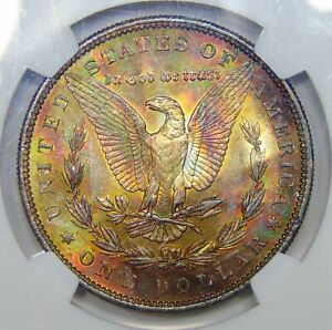 1884 NGC MS63 REVERSE END OF ROLL RAINBOW TONED MORGAN EOR AMAZING PATTERN  DR