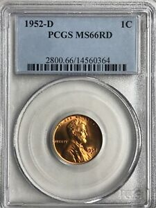 PCGS 1952 D  AND 1952 S LINCOLN CENTS   BOTH MS66RD