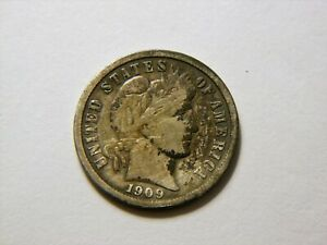 1909 P VF   TONED  SILVER BARBER DIME  NICE BETTER GRADE COIN FOR A COLLECTION