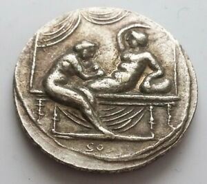 CALIULA COIN ANCIENT ROMAN EMPIRE SPINTRIA BROTHEL EROTIC ANTIQUE TOKEN 9