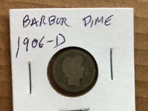 1906   D  SILVER BARBER DIME