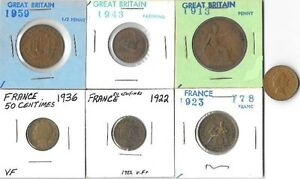 7 GREAT BRITAIN & FRANCE COINS VARIOUS YEARS & DENOMINATIONS