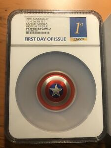 Click now to see the BUY IT NOW Price! 2016 MARVEL CAPTAIN AMERICA SHIELD   2 OZ. DOME SHAPED COIN   NGC PF70 FIRST DAY