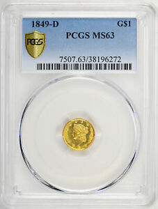 Click now to see the BUY IT NOW Price! 1849 D GOLD G$1 PCGS MS 63