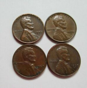US 1 CENT LINCOLN 1950 P 1952 P 1953 S 1954 S WHEAT PENNY COIN LOT