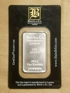 Click now to see the BUY IT NOW Price! 1 OUNCE RHODIUM BAR BAIRD MINT SEALED IN ITS ORIGINALLY ISSUED ASSAY CARD INGOT