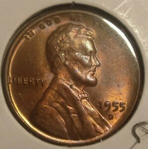 1955 D LINCOLN WHEAT PENNY REVERSE RETAIN CUD ERROR. REVERSE.