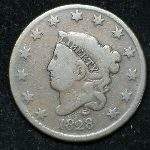 1828 CORONET HEAD LARGE CENT      N 6 | R1 | G      LARGE NARROW DATE   LC1000
